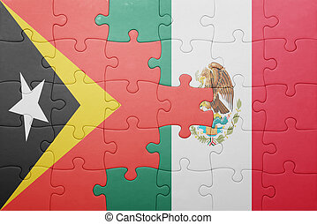 puzzle with the national flag of east timor and mexico...