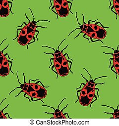 Seamless pattern with bug-soldier or Firebug hand-drawn...