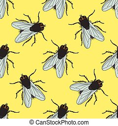 Seamless pattern with fly. Musca domestica . hand-drawn ....
