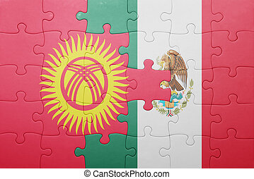 puzzle with the national flag of kyrgyzstan and mexico...
