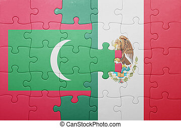 puzzle with the national flag of maldives and mexico concept...