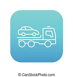 Car towing truck line icon - Car towing truck line icon for...