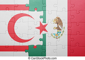 puzzle with the national flag of northern cyprus and mexico...