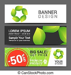 Set vector banners fresh green leaves Spring or summer nature