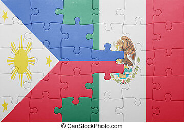 puzzle with the national flag of philippines and mexico...