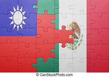 puzzle with the national flag of taiwan and mexico concept