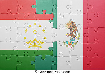 puzzle with the national flag of tajikistan and mexico...