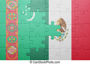puzzle with the national flag of turkmenistan and mexico...