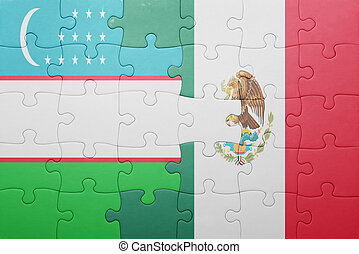 puzzle with the national flag of uzbekistan and mexico...