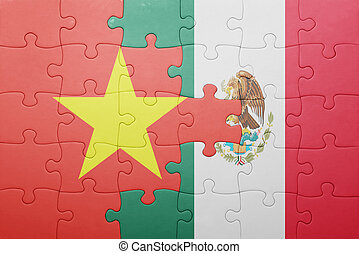 puzzle with the national flag of vietnam and mexico concept...