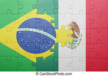 puzzle with the national flag of brazil and mexico concept