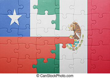 puzzle with the national flag of chile and mexico concept