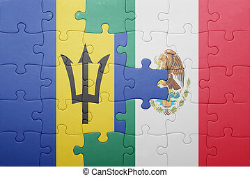 puzzle with the national flag of barbados and mexico concept...