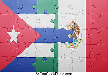 puzzle with the national flag of cuba and mexico concept