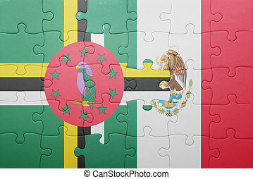 puzzle with the national flag of dominica and mexico concept...