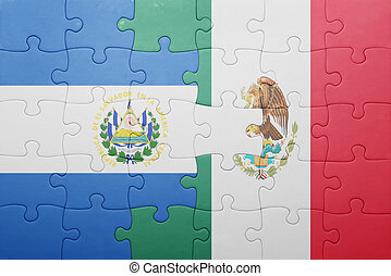 puzzle with the national flag of el salvador and mexico...