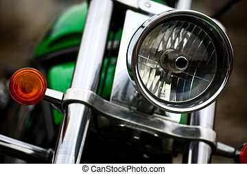 Motorcycle headlight - Detail on the headlight of a classic...