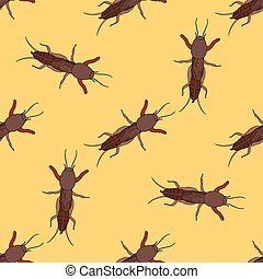 Seamless pattern with European mole cricket. Gryllotalpidae....
