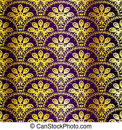 Purple seamless peacock sari pattern - stylish vector...