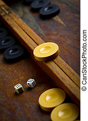 Backgammon - Color detail of a Backgammon game with two dice