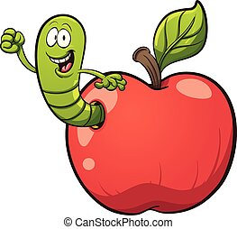 Cartoon worm coming out of an apple. Vector clip art...
