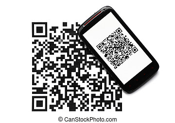 QR code mobile scanner - A mobile phone next to a QR code...