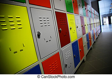 Colored Lockers - Color shot of some lockers in a highschool