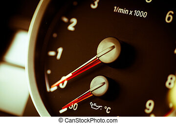 Tachometer - Detail with the tachometer of a sports car
