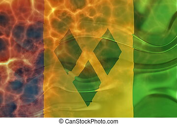 Flag of Saint Vincent and Grenadines wavy burning - Flag of...