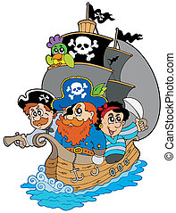 Ship with various cartoon pirates - vector illustration.
