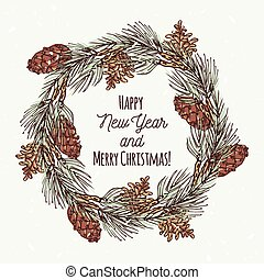 Christmas greeting card with hand drawn wreath and pine cone...