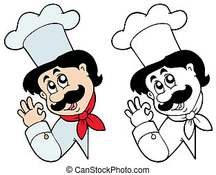 Lurking chef on white background - vector illustration