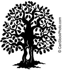 chêne, arbre, silhouette