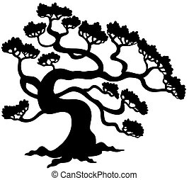 Pine tree silhouette - vector illustration