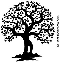 Spring tree silhouette - vector illustration.