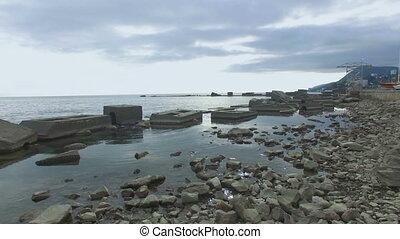 aerial video of sea shore - aerial video of rocky coastline...