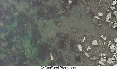 sea shore, aerial video - aerial video of rocky sea shore