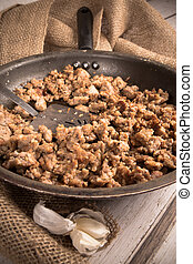 Frying Meat - Cooking Ground sausage meat in frying pan with...