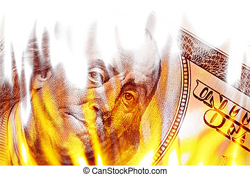 Money Ablaze in Flames - Burning American money with...