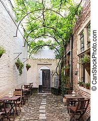 Vlaeykensgang alley in Antwerp, Belgium - ANTWERP, BELGIUM -...