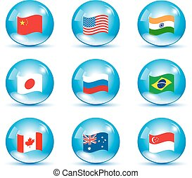 World countries flags set in a bubbles with shadows