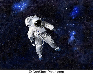 Astronaut wearing pressure suit against a space background....