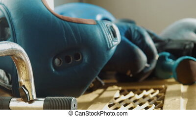 Equipment for boxing, a helmet, dumbbells, gloves - Boxing...
