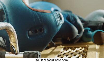 Equipment for boxing, a helmet, dumbbells, gloves - Boxing...