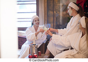 bachelorette party - group of famale friends in spa have...
