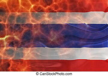 Flag of Thailand wavy burning