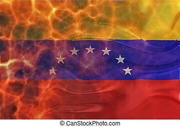 bandera, ondulado,  venezuela, abrasador