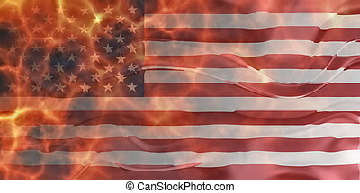 Flag of United States of America wavy burning - Flag of...