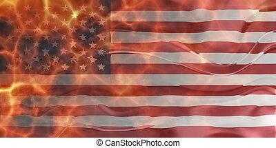 Flag of United States of America wavy burning - Flag of...