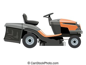 Orange lawn mower - Orange lawnmower on a white background